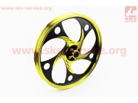"""Диск передний литой 1,4-17"""" ACTIVE """"волна"""", черный/желтый """"под дисковый тормоз"""" (ось 12мм) [Китай]"""