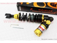 Амортизатор задний GY6/Honda - 320мм*d60мм (втулка 12мм / вилка 8мм) газовый регулир., черный [NAIDITE]