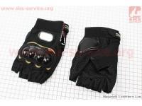 Перчатки мотоциклетные без пальцев XL-черные [PRO BIKER]