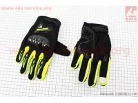 Перчатки мотоциклетные L-черно/салатовые (сенсорный палец) [Berufenn]
