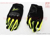 Перчатки мотоциклетные XL-черно/салатовые (сенсорный палец) [Berufenn]