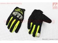 Перчатки мотоциклетные L-черно/салатовые (сенсорный палец) [AXIO]