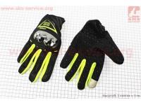 Перчатки мотоциклетные XL-черно/салатовые (сенсорный палец) [AXIO]