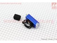 Фонарь передний 1 диод 180 lumen алюминиевый, Li-ion 3.7V 1200mAh зарядка от USB, влагозащитный, синий MC-QD001 [Китай]