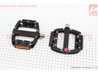 """Педали MTB широкие 9/16"""" (101x98x16mm) со съёмными шипами, 2 пром-подшипника (6*13*5), алюминиевые, черные NWL-506B [FPD]"""