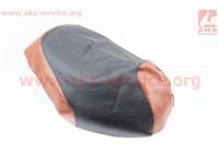 Чехол сидения Honda DIO AF62 (эластичный, прочный материал) черный/коричневый [Украина]