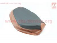 Чехол сидения Honda DIO TACT AF24 (эластичный, прочный материал) черный/коричневый [Украина]