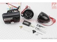 """АУДИО-блок с ЖК дисплеем (МРЗ-USB/SD, FM, пультДУ, сигнализация)  + колонки 2шт (черные """"череп"""") [Китай]"""