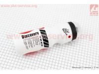 """Фляга пластиковая 550мл, с защитной крышкой, белая с красным рисунком """"Trek"""" [Китай]"""