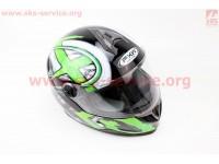 Шлем закрытый HF-122 S- ЧЕРНЫЙ глянец с бело-зеленым рисунком Q100G [FXW]