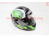 Шлем закрытый HF-122 М- ЧЕРНЫЙ глянец с бело-зеленым рисунком Q100G [FXW]