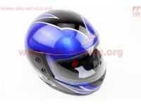 Шлем закрытый 825-2 S- СИНИЙ с рисунком черным (возможны дефекты покраски) [F-2]