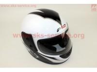 Шлем закрытый 825-2 S- БЕЛЫЙ с рисунком черным (возможны дефекты покраски) [F-2]