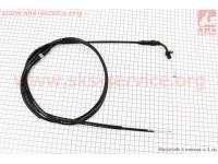 Трос газа для GY6 под карбюратор JH70 (крепление верхнее с шайбой) (с регулировкой по длине) (трос 196см; кожух 186см) [BAJAJ]