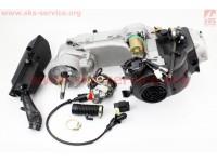 Двигатель скутерный в сборе 4Т-80куб (длинный вариатор, длинный вал) + карбюратор, коммутатор, катушка зажигания, фильтр воздушный [Viper]
