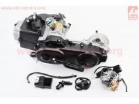 Двигатель скутерный в сборе 4Т-80куб (короткий вариатор, длинный вал) + карбюратор, коммутатор, катушка зажигания [SEE]