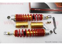 Амортизатор задний GY6 -  350мм*d61мм (втулка 10;12мм / вилка 8мм) газовый регулир., красный к-кт 2шт [SIE]