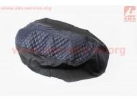 Чехол сиденья (эластичный, прочный материал) черный/синий, ЛЮКС [Украина]