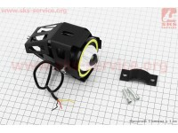 """Фара дополнительная светодиодная влагозащитная - LED линза с ободком """"ангельский глаз"""" в металлическом корпусе, с креплением на руль, 110*70мм [Китай]"""