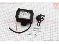 Фара дополнительная светодиодная влагозащитная - 10+9 LED с креплением, прямоугольная 76*99мм, SUPER LIGHT [Китай]