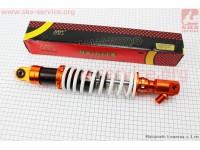 Амортизатор задний GY6 -  350мм*d60мм (втулка 10мм / втулка 10мм / вилка 8мм), белый TUNING [NAIDITE]