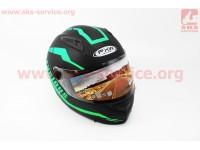 Шлем закрытый HF-111 S- ЧЕРНЫЙ матовый с зеленым рисунком Q154 [FXW]
