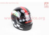 Шлем закрытый 825-1 XS- ЧЕРНЫЙ с красной полосой (возможны дефекты покраски) [F-2]