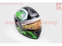 Шлем закрытый HF-122 L- ЧЕРНЫЙ глянец с бело-зеленым рисунком Q100G [FXW]