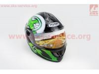 Шлем закрытый HF-122 XL- ЧЕРНЫЙ глянец с бело-зеленым рисунком Q100G [FXW]