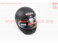 Шлем закрытый HK-221 - ЧЕРНЫЙ матовый + воротник (возможны царапины, дефекты покраски) [HTK]