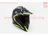 Шлем кроссовый HF-116 M- ЧЕРНЫЙ матовый с зеленым рисунком [FXW]