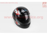 Шлем закрытый HF-101 M- ЧЕРНЫЙ с красным рисунком Q23-R [KUROSAWA]