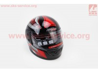 Шлем закрытый 825-3 S- ЧЕРНЫЙ с рисунком красно-серым (возможны дефекты покраски) [F-2]