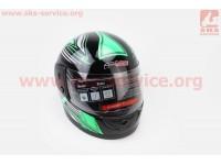 Шлем закрытый 825-3 S- ЧЕРНЫЙ с рисунком зелено-серым (возможны дефекты покраски) [F-2]