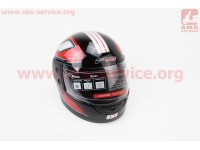 Шлем закрытый 825-3 S- ЧЕРНЫЙ с рисунком красно-серой полосой [F-2]