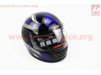 Шлем закрытый 825-3 S- ЧЕРНЫЙ с рисунком сине-серым [F-2]