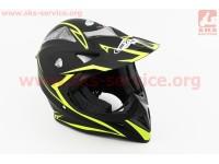Шлем кроссовый HF-116 L- ЧЕРНЫЙ матовый с зеленым рисунком Q178Y [FXW]