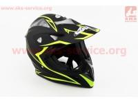 Шлем кроссовый HF-116 XL- ЧЕРНЫЙ матовый с зеленым рисунком Q178Y [FXW]