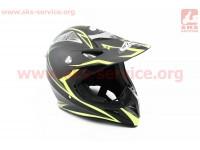 Шлем кроссовый HF-116 XXL- ЧЕРНЫЙ матовый с зеленым рисунком Q178Y [FXW]