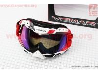 Очки кроссовые, бело-красно-черные (зеркальное стекло), VM-1016C [VEMAR]
