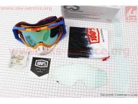 Очки кроссовые со сменным стеклом, + защитная пленка 1шт + набор для ухода, оранжево-сине-белые (зеркальное стекло) [100%]