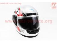 Шлем закрытый HF-101 S- СЕРЫЙ с красно-черным рисунком Q23-R [KUROSAWA]