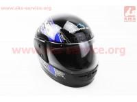 Шлем закрытый HF-101 S- ЧЕРНЫЙ с сине-серым рисунком Q23-BL [KUROSAWA]