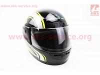 Шлем закрытый HF-101 M- ЧЕРНЫЙ с желто-серым рисунком Q233-Y [KUROSAWA]