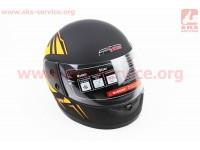 Шлем закрытый 825-1 XS- ЧЕРНЫЙ матовый с рисунком оранжевым (возможны дефекты покраски) [F-2]