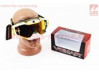 Очки кроссовые, ремешок с силиконовым покрытием, бело-желто-черные (зеркальное стекло), VM-1015A [VEMAR]
