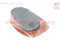 Чехол сидения Honda DIO AF18 (эластичный, прочный материал) черный/коричневый [Украина]