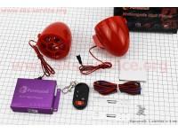 АУДИО-блок (МРЗ-USB/SD, FM-радио, пультДУ, сигнализация) + колонки 2шт (красные) [Formula]