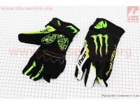 Перчатки мотоциклетные L-зеленые, тип 3 [monster]
