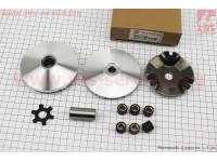 Вариатор передний к-кт Yamaha JOG 50 (под вал 13мм)+ втулка, крыльчатка, крест [Formula]